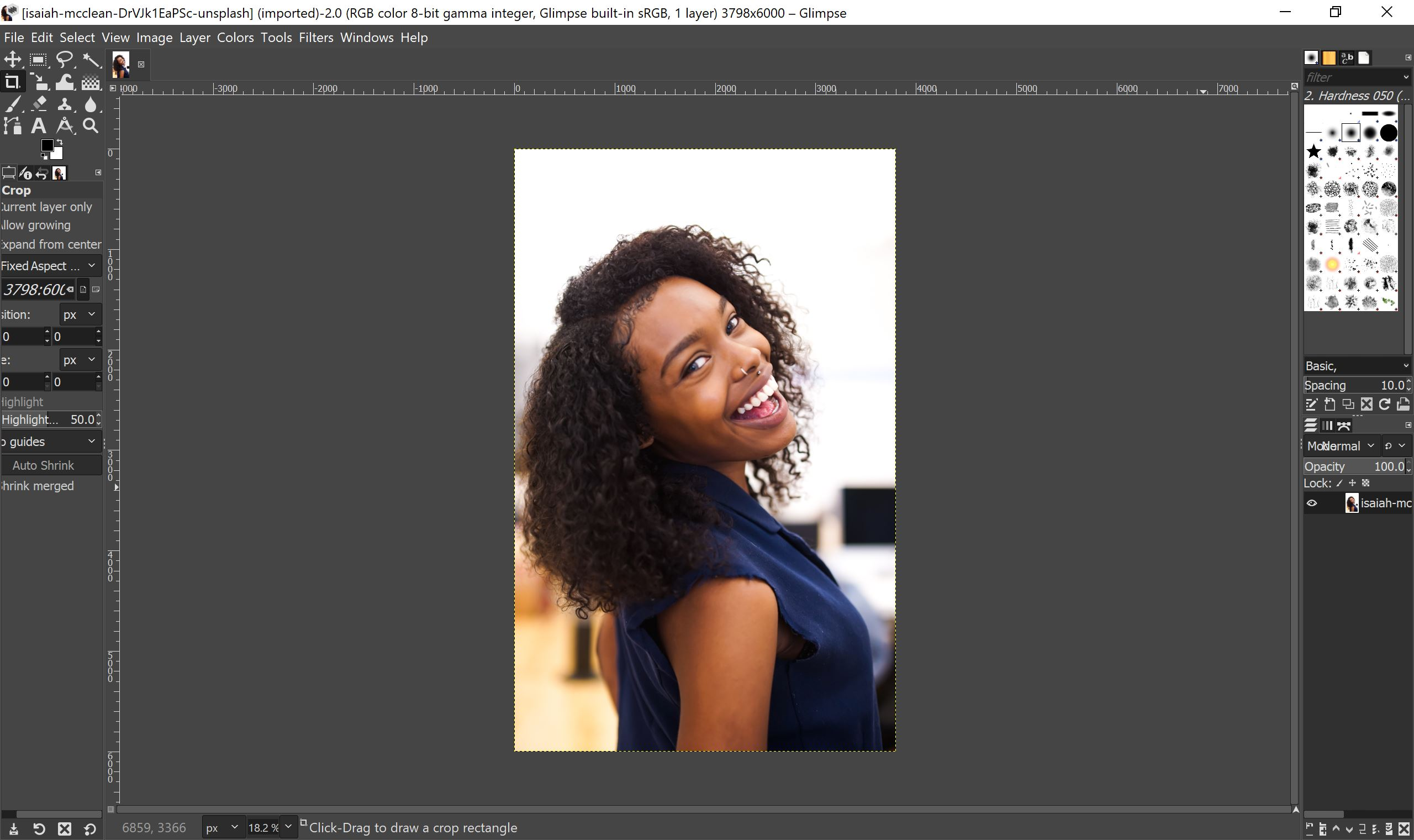 A screenshot of Glimpse showing a photo of an African-American woman smiling